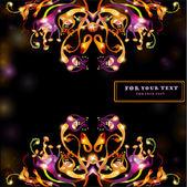 Banner space black fantasy bright background flower — ストックベクタ