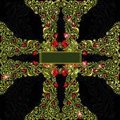 Cross green shinny pattern glossy black background style — Stock Vector