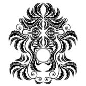 Trible spirit demon face silhouette symbol — Stock Vector