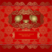 Elephant silhouette red background gold banner — Stock vektor