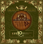Cognac luxury background label banner gold oak advertising — Stockvektor