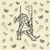 Cartoon hero character girl kid — Stock Vector