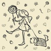Girl dog cartoon sketch kid character — Stock Vector
