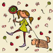 Girl dog cartoon sketch character — Stock Vector