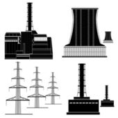 Nuclear electric plant station silhouette — Stock Vector