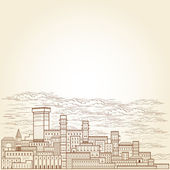 Old town engraving background — Stock Vector