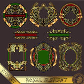 Gold royal label element vintage — Vector de stock