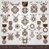 Royal medal vintage set — Stock Vector