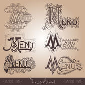 Vintage menu old calligraphic — Vecteur