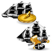 Nautic pirate ship with marine supplies — Stock Vector