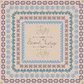 Pattern vintage square frame — Vector de stock