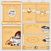 Coffee tea sugar cacke pack set — Stock Vector