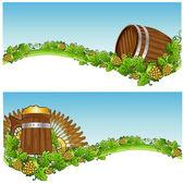 Barrel mug beer background banner hop — Stock vektor