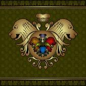 Druif heraldische label met leeuw hoofd — Stockvector