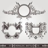 Heraldic old banners of battle — Stock Vector