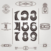 Set of vintage numbers — Stock Vector