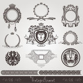 Vintage banner and element set — Stock Vector
