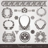 Vintage set of old element and wreath — Stock Vector