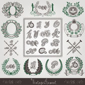 Vintage wreath with old engraving element and letters — Stock Vector