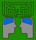 Two brains as a chip — Stock vektor