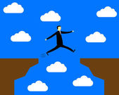 Businessman jumping over the precipice — Stock Vector