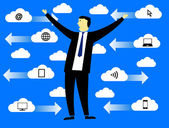 Businessman in the clouds — Stock Vector