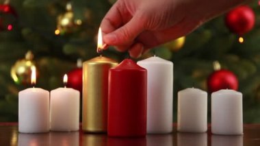 Christams candle set — Stock Video