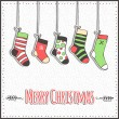 Christmas card with socks and snowflakes. Vector illustration — Stock Vector