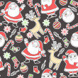 Seamless background with deer, santa, snowflakes, socks, balls and candy for winter and christmas theme. Great choice for wrapping paper pattern. — Imagens vectoriais em stock