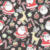 Seamless background with deer, santa, snowflakes, socks, balls and candy for winter and christmas theme. Great choice for wrapping paper pattern. — Stock Vector