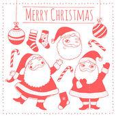 Set di vettore isolato elementi di Natale: Babbo Natale, caramelle, fiocchi di neve, palline, calzini. illustrazione vettoriale. — Vettoriale Stock
