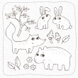 Forest friends. Set of vector hand drawn elements — Stock Vector