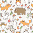Seamless vector pattern with cute forest animals — Stock Vector