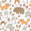 Seamless vector pattern with cute forest animals — Stock Vector #35997485