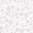 Cute seamless pattern with clouds, rainbow, flowers and rabbits. — Stockvektor