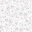 Cute seamless pattern with clouds, rainbow, flowers and rabbits. — Imagens vectoriais em stock