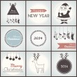 Christmas hipster posters set. Vector illustration. — Stock Vector