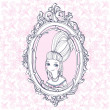 Picture of rococo woman in a frame — Stock Vector