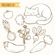 Set of vegetables and cat — Stock Vector