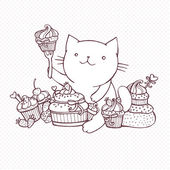 Cat eat sweet cupcakes — Vector de stock