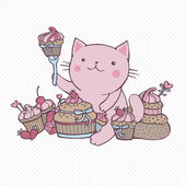Cat eat sweet cupcakes — Stock Vector