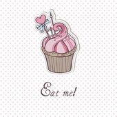 Sweet Cupcake with polka dots — Stock Vector