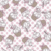 Cupcakes - seamless pattern — Stock Vector
