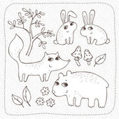 Forest friends. Set of vector hand drawn elements — 图库矢量图片