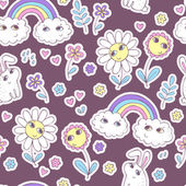 Cute seamless pattern with clouds, rainbow, flowers and rabbits. — Wektor stockowy