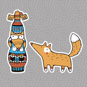 Funny animals: American Indian Totem and Fox — Stock Vector