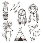 Set of vector hand drawn indian elements (funny animals, arrows, dream-catchers, totem) — Stock Vector