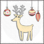 Christmas card with reindeer, snowflakes and balls. Vector illustration — Stock Vector