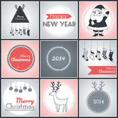 Christmas hipster posters set. Vector illustration — Stock Vector