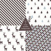 Set of Christmas hipster seamless patterns — Stock Vector